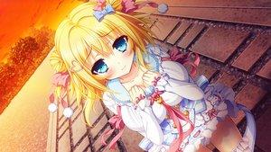 Rating: Safe Score: 45 Tags: aqua_eyes blonde_hair blush bow chelsea_soft dress game_cg koi_wa_yumemiru_mouretsu_girl! ribbons tagme_(artist) yoshioka_aoi User: FormX