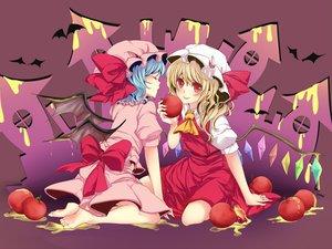 Rating: Safe Score: 35 Tags: 2girls animal apple barefoot bat flandre_scarlet food fruit remilia_scarlet rimu_(rim573) touhou vampire wings User: gnarf1975
