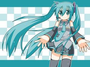 Rating: Safe Score: 27 Tags: aqua_eyes aqua_hair hatsune_miku long_hair minami_(artist) thighhighs twintails vocaloid User: SciFi