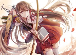 Rating: Safe Score: 122 Tags: akagi_(kancolle) anthropomorphism bow_(weapon) elise_(piclic) gloves japanese_clothes kantai_collection long_hair petals ribbons skirt thighhighs weapon zettai_ryouiki User: Flandre93