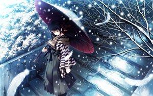 Rating: Safe Score: 104 Tags: cartagra feathers japanese_clothes kouzuki_kazuna simosi snow umbrella User: Oyashiro-sama