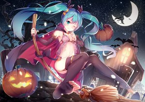 Rating: Safe Score: 460 Tags: animal aqua_eyes aqua_hair bat blush breasts cape halloween hatsune_miku long_hair moon night pumpkin stars tail twintails vocaloid wink yan_(nicknikg) User: RyuZU