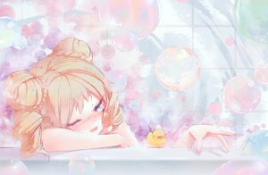 Rating: Safe Score: 71 Tags: anthropomorphism aqua_eyes bath bathtub blonde_hair blush bubbles colt_revolver_(girls_frontline) futoshi_ame girls_frontline short_hair wink User: RyuZU