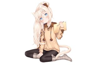 Rating: Safe Score: 97 Tags: aqua_eyes blonde_hair blush book bow braids catgirl glasses hoodie kneehighs long_hair nami_(nyaa) original socks tail watermark white User: otaku_emmy