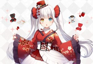 Rating: Safe Score: 80 Tags: bicolored_eyes blush chibi dress drink hat japanese_clothes kagura_mea kagura_mea_channel lolita_fashion long_hair momoshiki_tsubaki teddy_bear white_hair User: BattlequeenYume