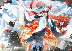Rating: Safe Score: 30 Tags: blush building green_eyes green_hair hatsune_miku japanese_clothes jpeg_artifacts kimono leaves long_hair mullpull reflection shrine twintails umbrella vocaloid water watermark User: BattlequeenYume