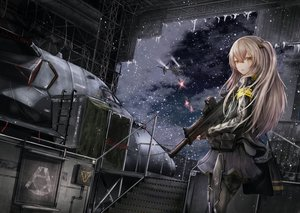 Rating: Safe Score: 32 Tags: aircraft anthropomorphism brown_hair girls_frontline gloves gun long_hair pantyhose scar shumeia snow ump-45_(girls_frontline) weapon yellow_eyes User: Nepcoheart