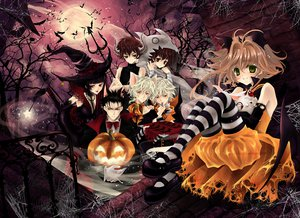 Rating: Safe Score: 104 Tags: alexa_pasztor animal animal_ears bandage bat bell bird black_hair bow brown_eyes brown_hair catboy choker elbow_gloves fay_d_flourite gloves green_eyes group halloween hat horns ichihara_yuuko kurogane male moon necklace pumpkin red_eyes sakura_(tsubasa) suit syaoran thighhighs tsubasa_reservoir_chronicle watermark wings witch witch_hat wristwear yellow_eyes User: opai