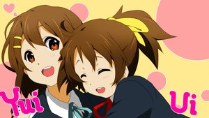 Rating: Safe Score: 59 Tags: 2girls brown_hair hirasawa_ui hirasawa_yui hug k-on! miyabi_(miura105) orange_eyes ribbons school_uniform short_hair User: FormX