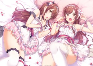 Rating: Safe Score: 79 Tags: 2girls bed brown_eyes brown_hair cherry dress food fruit idolmaster_shiny_colors long_hair makatani oosaki_amana oosaki_tenka thighhighs twins User: BattlequeenYume