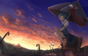 Rating: Safe Score: 38 Tags: bicolored_eyes blue_hair clouds dress mifuru short_hair sky tatara_kogasa touhou umbrella User: RyuZU