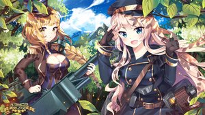 Rating: Safe Score: 43 Tags: 2girls aqua_eyes armor_blitz blonde_hair braids breasts cleavage clouds fang forest gloves gun hat logo long_hair military ponytail sky squadra tree uniform weapon yellow_eyes User: luckyluna