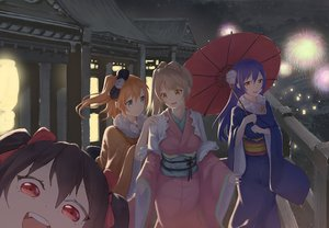 Rating: Safe Score: 30 Tags: aqua_eyes blue_hair brown_hair fireworks group iwry japanese_clothes kousaka_honoka long_hair love_live!_school_idol_project minami_kotori night orange_hair ponytail red_eyes short_hair sonoda_umi umbrella yazawa_nico User: RyuZU