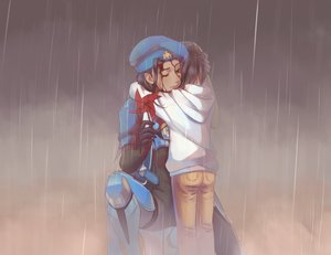 Rating: Safe Score: 45 Tags: 2girls ana_(overwatch) armor black_hair blood bodysuit dark_skin hat hoodie hug loli nyasa overwatch pharah_(overwatch) rain water User: otaku_emmy