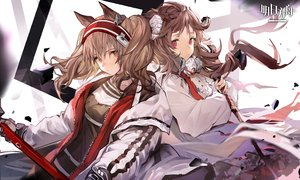 Rating: Safe Score: 40 Tags: 2girls angelina_(arknights) animal_ears arknights brown_eyes brown_hair eyjafjalla_(arknights) horns logo long_hair shirt staff twintails xiao_chichi User: Nepcoheart