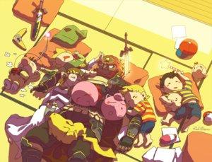 Rating: Safe Score: 16 Tags: barefoot brown_hair dark_skin ganondorf group jigglypuff kirby kirby_(character) link_(zelda) long_hair lucas male mother mr._saturn ness olimar pikachu pikmin pokemon princess_zelda red_hair signed sleeping super_smash_bros. sword the_legend_of_zelda tori-kei wand weapon User: otaku_emmy