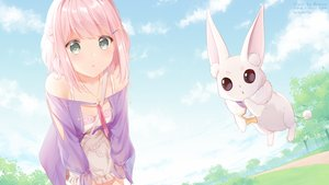 Rating: Safe Score: 55 Tags: animal blush braids clouds green_eyes necklace pink_hair rimuu short_hair sky tagme_(character) User: RyuZU