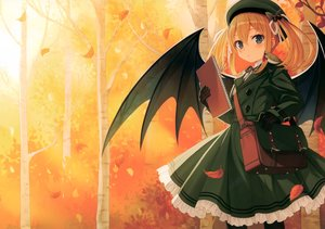 Rating: Safe Score: 53 Tags: animal autumn bird green_eyes hat orange_hair original pantyhose scan short_hair twintails wings yashiro_seika User: Nepcoheart