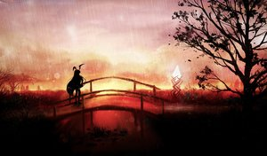 Rating: Safe Score: 98 Tags: akyuun animal_ears long_hair monochrome rain red reisen_udongein_inaba silhouette sunset touhou tree water User: mattiasc02