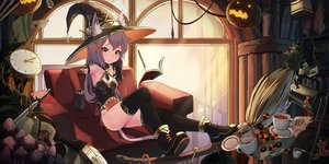 Rating: Safe Score: 88 Tags: animal_ears bodysuit bones book boots candy catgirl drink elbow_gloves food gloves halloween hat lollipop magic natori_youkai original pumpkin purple_hair skull sword tail thighhighs weapon witch witch_hat User: RyuZU