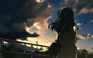 Rating: Safe Score: 154 Tags: black_hair building clouds gray_hair original shikei sky User: opai