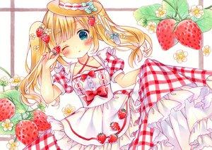 Rating: Safe Score: 27 Tags: aqua_eyes blonde_hair blush bow dress flowers food fruit hat lolita_fashion long_hair original puu_(kari---ume) skirt_lift strawberry twintails wink User: otaku_emmy