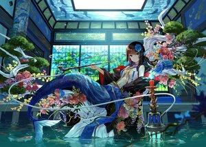 Rating: Safe Score: 147 Tags: animal blue_eyes brown_hair fish flowers fuji_choko long_hair mermaid navel original tail tree water User: BattlequeenYume