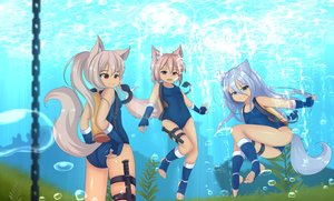 Rating: Safe Score: 26 Tags: animal_ears blue_eyes bubbles chain foxgirl grass hotel01 kneehighs knife original purple_eyes red_eyes school_swimsuit swimsuit tail underwater water weapon User: gnarf1975
