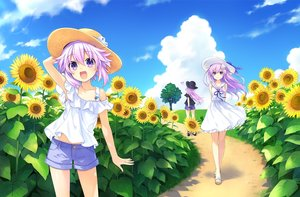 Rating: Safe Score: 43 Tags: adult_neptune butterfly clouds dress flowers hat hyperdimension_neptunia jpeg_artifacts long_hair nepgear neptune purple_eyes purple_hair short_hair shorts sky sunflower tree tsunako User: Nepcoheart