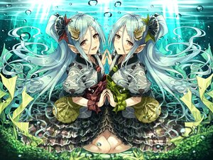 Rating: Safe Score: 17 Tags: 2girls hasumi_(hasubatake39) lolita_fashion long_hair original pointed_ears twins underwater water User: BattlequeenYume