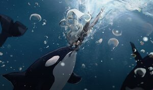 Rating: Safe Score: 51 Tags: animal arknights fish gloves gray_hair hat jinfeng0430 long_hair red_eyes shirt skadi_(arknights) underwater water User: PrimalAgony