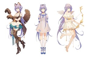 Rating: Safe Score: 37 Tags: animal_ears boots bow_(weapon) collar cosplay dress green_eyes long_hair luo_tianyi purple_hair tail thighhighs tidsean vocaloid vsinger weapon white wolfgirl User: BattlequeenYume