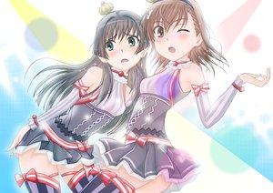 Rating: Safe Score: 76 Tags: 2girls black_hair blush brown_eyes brown_hair collar green_eyes headband h.i.t_(59-18-45) long_hair misaka_mikoto ribbons saten_ruiko skirt stockings thighhighs to_aru_kagaku_no_railgun to_aru_majutsu_no_index uniform wink zettai_ryouiki User: Freenight