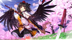 Rating: Safe Score: 66 Tags: black_hair brown_eyes cherry_blossoms cibo_(killy) clouds katana long_hair petals shameimaru_aya skirt sky sword touhou weapon wings User: RyuZU