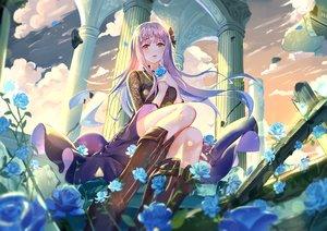 Rating: Safe Score: 86 Tags: clouds dress flowers long_hair onmyouji purple_hair rose ruins shan-n sky tagme_(character) yellow_eyes User: BattlequeenYume