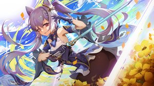 Rating: Safe Score: 30 Tags: ass clouds flowers genshin_impact keqing_(genshin_impact) long_hair moonofmonster sky sword twintails weapon User: Dreista