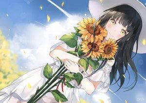 Rating: Safe Score: 64 Tags: black_hair clouds dress flowers hat long_hair original petals sky summer_dress sunflower yellow_eyes yumaomi User: otaku_emmy