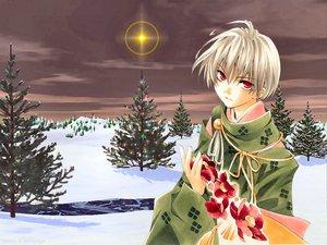 Rating: Safe Score: 14 Tags: ichinomiya_kantarou japanese_clothes red_eyes snow tactics winter User: Oyashiro-sama