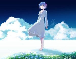 Rating: Safe Score: 22 Tags: clouds dress flowers inaeda_kei rem_(re:zero) re:zero_kara_hajimeru_isekai_seikatsu sky User: FormX