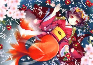 Rating: Safe Score: 63 Tags: animal fish flowers japanese_clothes kimono natsume_eri petals ribbons scan short_hair tagme User: gnarf1975