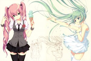 Rating: Safe Score: 194 Tags: cropped dmyo dress food hatsune_miku ice_cream megurine_luka scan school_uniform thighhighs twintails vocaloid white User: Wiresetc