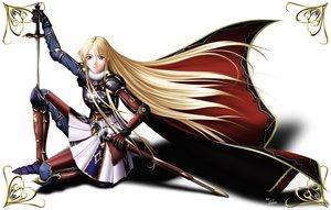 Rating: Safe Score: 44 Tags: armor blonde_hair blue_eyes sharon sword takatan weapon words_worth User: Oyashiro-sama