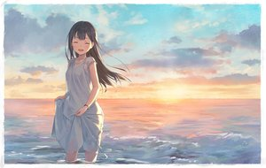 Rating: Safe Score: 80 Tags: blush brown_hair clouds dress long_hair original see_through shouin sky summer_dress sunset water wristwear User: BattlequeenYume