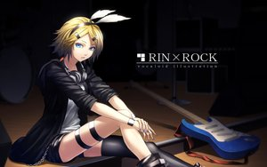 Rating: Safe Score: 69 Tags: blonde_hair blue_eyes guitar headdress headphones hoodie instrument kagamine_rin shorts sugi_214 thighhighs vocaloid User: reyaes