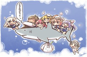 Rating: Safe Score: 59 Tags: admiral_(kancolle) animal anthropomorphism blonde_hair blue_eyes blush brown_hair chibi fang glasses gray_hair group hat i-168_(kancolle) i-19_(kancolle) i-401_(kancolle) i-58_(kancolle) i-8_(kancolle) kantai_collection long_hair maru-yu_(kancolle) pink_hair ponytail purple_hair red_eyes ro-500_(kancolle) school_swimsuit seifuku shark short_hair signed swimsuit twintails white_hair User: ArthurS91