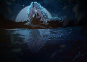 Rating: Safe Score: 113 Tags: aqua_hair barefoot dark dress green_eyes hatsune_miku long_hair miemia moon night reflection signed sky stars twintails vocaloid User: BattlequeenYume