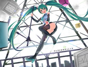 Rating: Safe Score: 11 Tags: aliasing aqua_eyes green_hair hatsune_miku long_hair microphone skirt tagme_(artist) thighhighs tie twintails vocaloid User: RyuZU