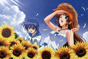 Rating: Safe Score: 24 Tags: blue_hair clouds dress flowers hat komori_atsushi mahou_shoujo_lyrical_nanoha mahou_shoujo_lyrical_nanoha_strikers necklace subaru_nakajima sunflower takamachi_nanoha User: Oyashiro-sama
