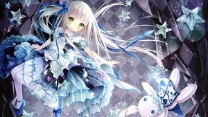 Rating: Safe Score: 100 Tags: alice_in_wonderland cropped dress green_eyes loli lolita_fashion long_hair pantyhose ribbons scan see_through tinkle twintails white_hair User: gnarf1975