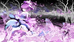 Rating: Safe Score: 64 Tags: asakura_masatoki butterfly cherry_blossoms flowers hat japanese_clothes kimono petals purple_eyes purple_hair saigyouji_yuyuko short_hair sky stars touhou tree water User: Tensa